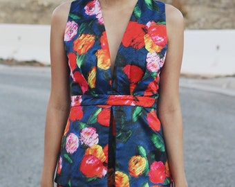 Silk-like floral romper playsuit / trendy + summer + spring