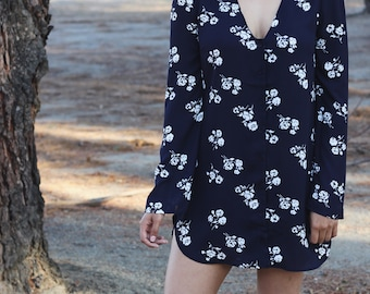 Navy Blue Floral Shirt/Tunic Button Down Long Sleeve Shirt Dress / Trendy