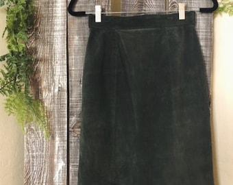 Green Suede High Waisted Skirt