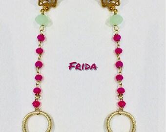 Pendant earrings with Swarovski and semiprecious stones