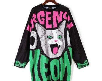 4f0109995b Punk Cat Dress Girls Streetwear Harajuku Alternative Creepy Cute Loose Midi  Tunic Dress T-Shirt With Pockets