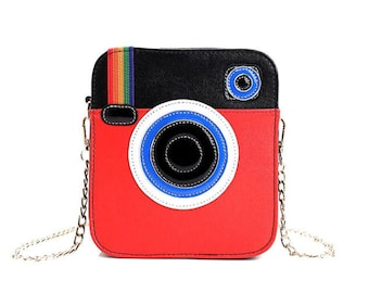 Creative Red Instagram Camera Logo Crossbody Bag Messenger Bag Cute Bag for Women Vegan Leather Funny Bag