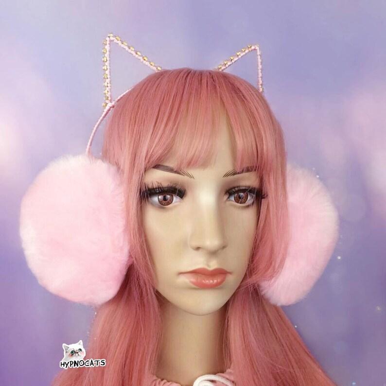 15181af61a807 Crystal Plush Cat Ears Headband Pink Fluffy Yami Kawaii Lolita