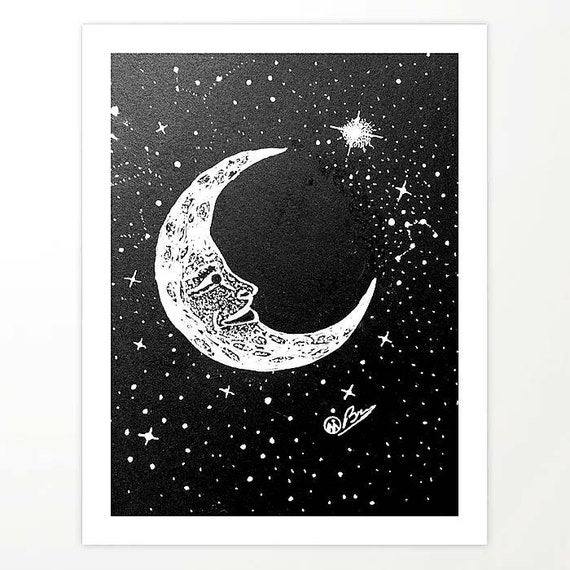 hand painted moon mounted on 6 x 6 wood background original art Moon painting MP-405