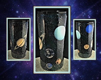 Solar System/ Galaxy Custom Full Glitter Personalized Tumbler, Insulated Tumbler, Custom Tumbler Cup,  10oz, 20oz, 30oz or 40oz Mug,