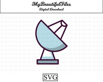 Satellite Dish Signal Receiver Art Style Car Tablet Vinyl Decal Industry #11