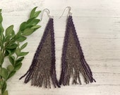 Fringe Earrings Seed Bead Earrings purple Earrings statement earrings beadwork shoulder duster earrings Sterling Silver Gifts for her