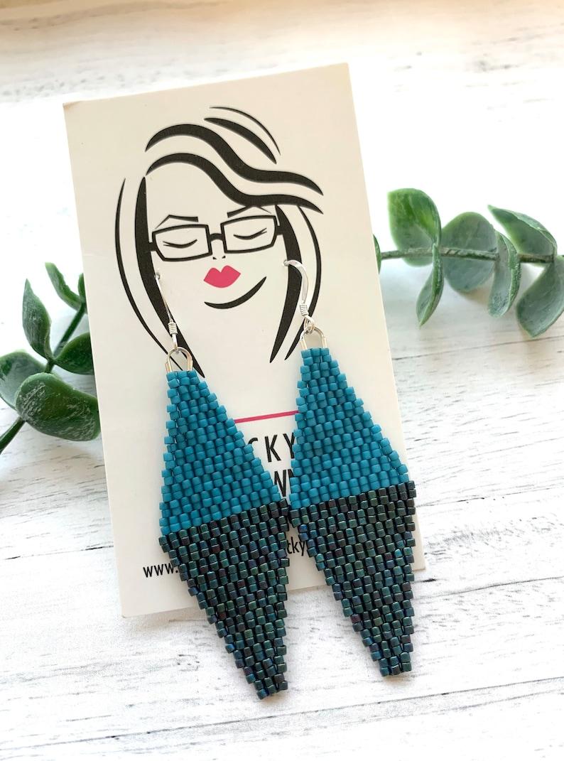 Turquoise Diamond Earrings Blue Woven Seed Bead Blue Earrings Teal Earrings Geometric Earrings Iridescent Blue Statement Dangle Earrings