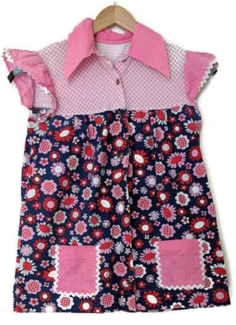 Handmade Smock Shirt Womens Small Polka Dots Flowers Gingham Pink Blue Red