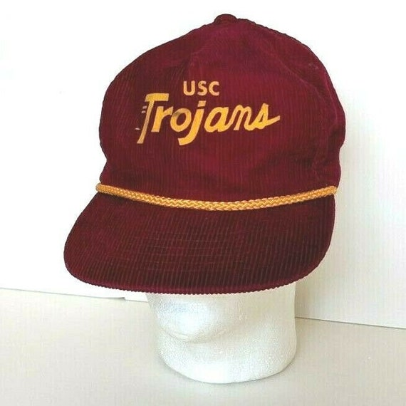 USC TROJANS Corduroy Vintage Snapback Hat Cap Red