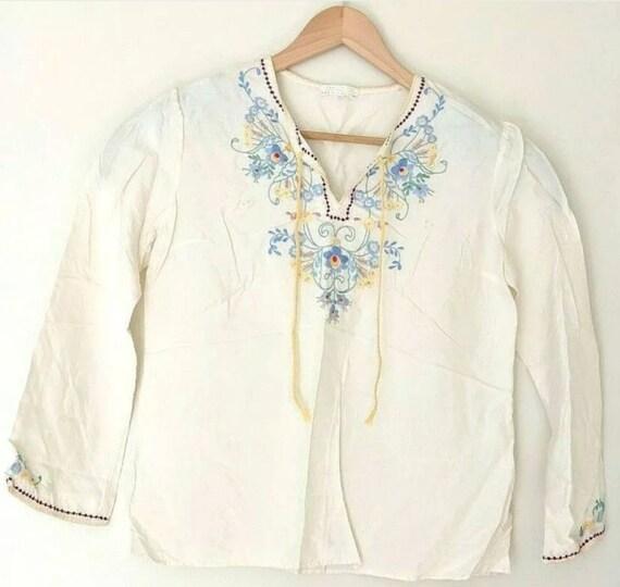 Silk Tunic Shirt Womens Medium Hand Embroidered Fl