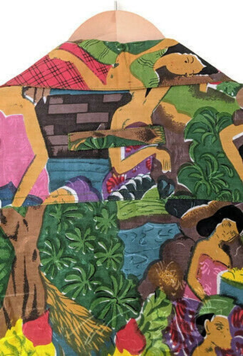 Polynesian Tahitian Mens Small Vintage Button Up Shirt Natives Oversized