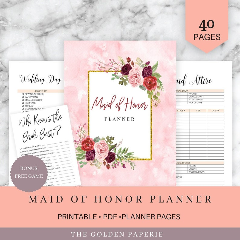 photo regarding Maid of Honor Printable Planner titled Maid of Honor Planner, Marriage ceremony Planner Printable, Bridesmaid Planner, Will Your self Be My Maid of Honor, PDF, Do it yourself Laptop , PDF Obtain