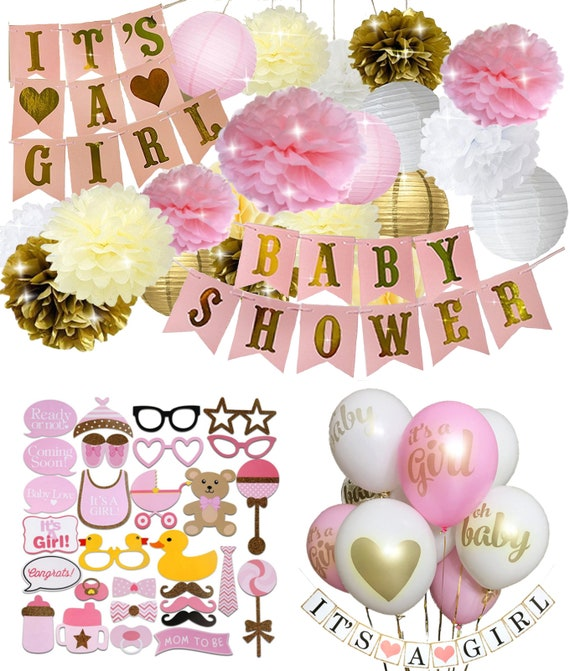 Pink Gold And White Decorations  from i.etsystatic.com