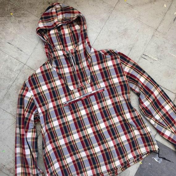 vintage 1950s 1960s plaid cotton hoodie | anorak |