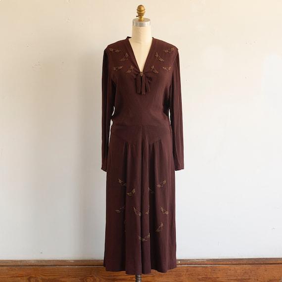 vintage 1930s 1940s beaded flying hearts dress   b