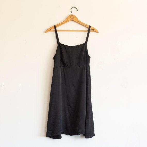 vintage 1990s black silk slip dress | mini dress |