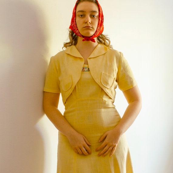 vintage 1930s 1940s yellow cotton dress and bolero