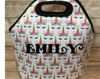 Unicorn Personalized Lunch Tote - Unicorn Lunch Bag, Neoprene Lunch Tote Bag - Kids Girls Personalized Gift