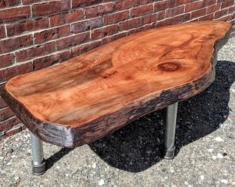 Live Edge Coffee Table   Oval   Reclaimed Wood   Natural Semi Gloss Finish    Rustic Decor   Home Furnishings   Metal Pipe Legs   Handmade