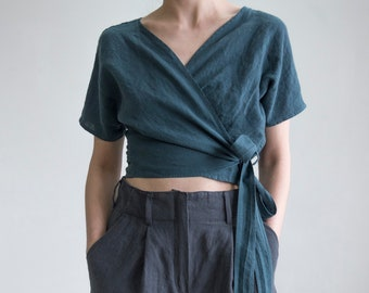 1fa866c25f88ad 70 colors/Wrap Linen tunic/Linen wrap top/Wrap Women blouse/women top/Wrap  Shirt/Linen clothing/Women clothing/Organic linen