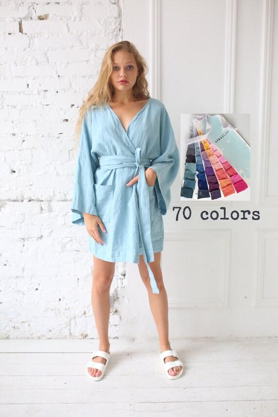 Homewear Women colors Women Dyed robes robe Linen 70 Braidesmaid Robes Softwashed Linen clothing Linen Linen Hand bathrobe homewear 7pwqxPd