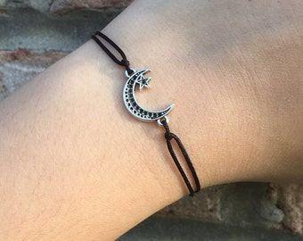 Black Moon and Star Charm Bracelet