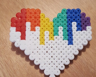 Rainbow drip heart badge