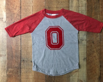 Ohio state red and gray raglan