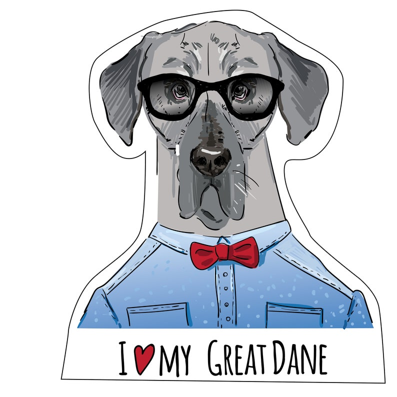Dog Stickers Gifts Bumper Sticker Male /& Female Available Dog lover Stationery Male Great Dane Vinyl