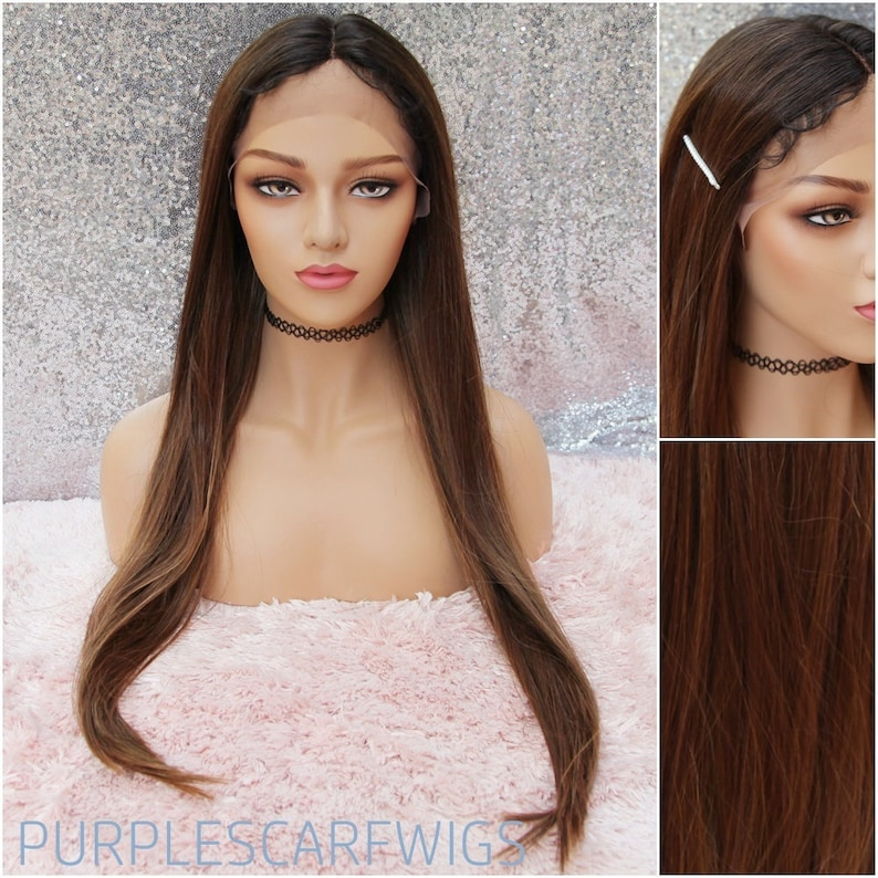 Long Brunette Lace Front Wig Baby hair wig