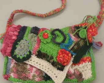 Free form cocheted purse