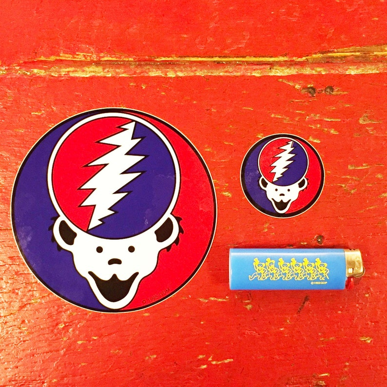 New Old Stock Large Set Of 2 Vintage Sticker Bundle Bear Your Face Bear Your Face Grateful Dead Small