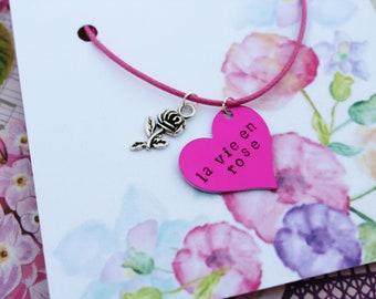 La Vie en Rose hand stamped necklace