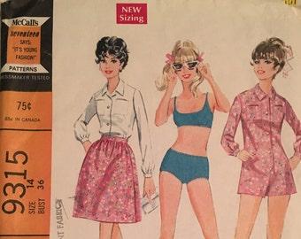 Mccalls 9315 1968 misses bathing suit, jumpsuit, and wrap skirt pattern size 14