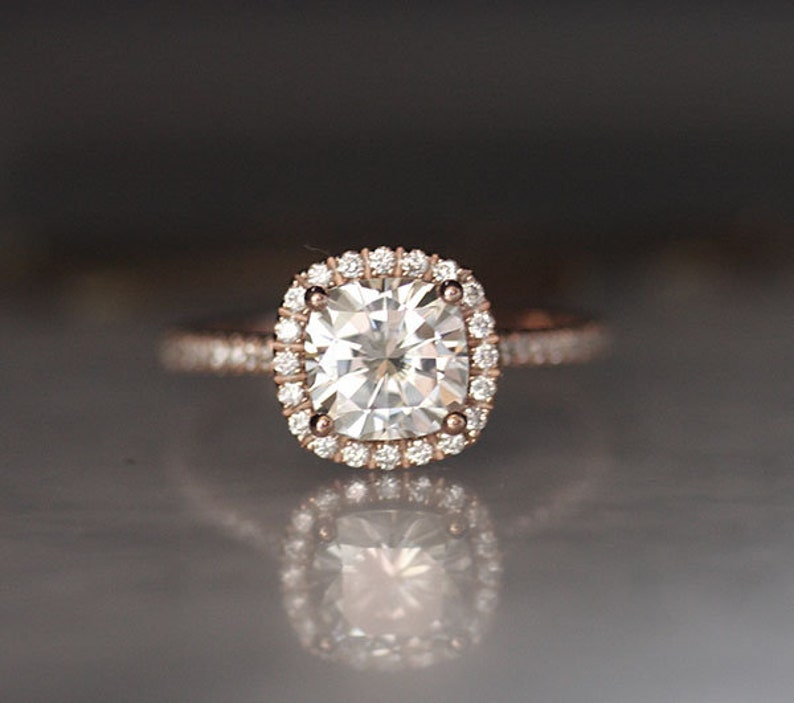 Forever Classic Moissanite Ring Charles and Colvard Moissanite Bridal Ring 7mm Cushion Moissanite /& Diamond Simulant Engagement Ring