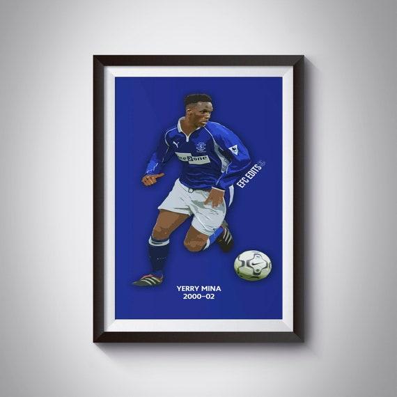 best cheap 1d0d3 3c54c Yerry Mina 2000-02 Everton Home Kit Print Everton Gift