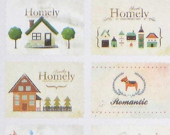 Retro Stamp Stickers Sheet for Journal