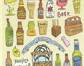 Assorted Beer Stickers Sheet