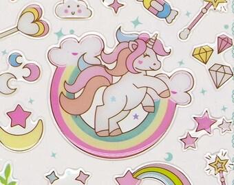 Cute Unicorn Crystal Stickers - Green