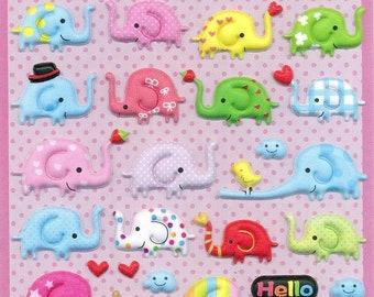 Elephant Puffy Stickers