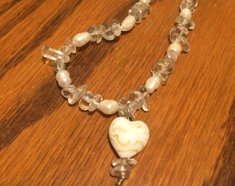 Lovely white pearl accent necklace