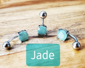 14 gauge Gemstone Navel Ring Belly Button Ring Green Stone Unique Body Jewelry Dainty Green AVENTURINE Belly Ring