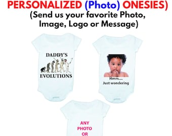 09c61bb997 Personalized PHOTO Onesie (Full Color direct Print) Up to 24 months  Same  day Ship