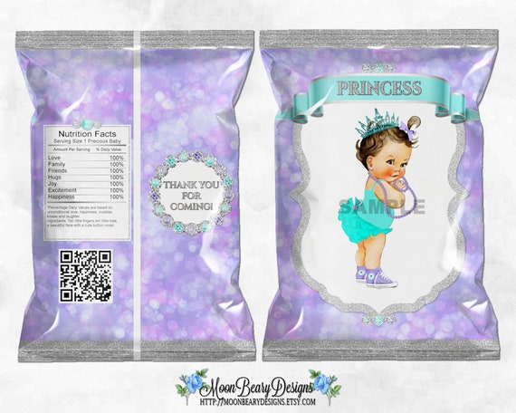 Lavender /& Turquoise Printable Chip Bags Princess Glitter Diamonds Digital Instant Download Medium Skin Tone Vintage Baby Girl