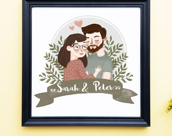 Couple Drawing Etsy