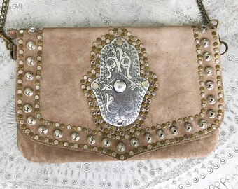 Hamsa Natural Coloured Suede Bag