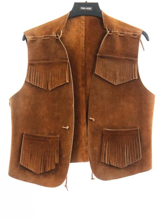 VNTG Cowboy Suede vest with fringes // Veste sans