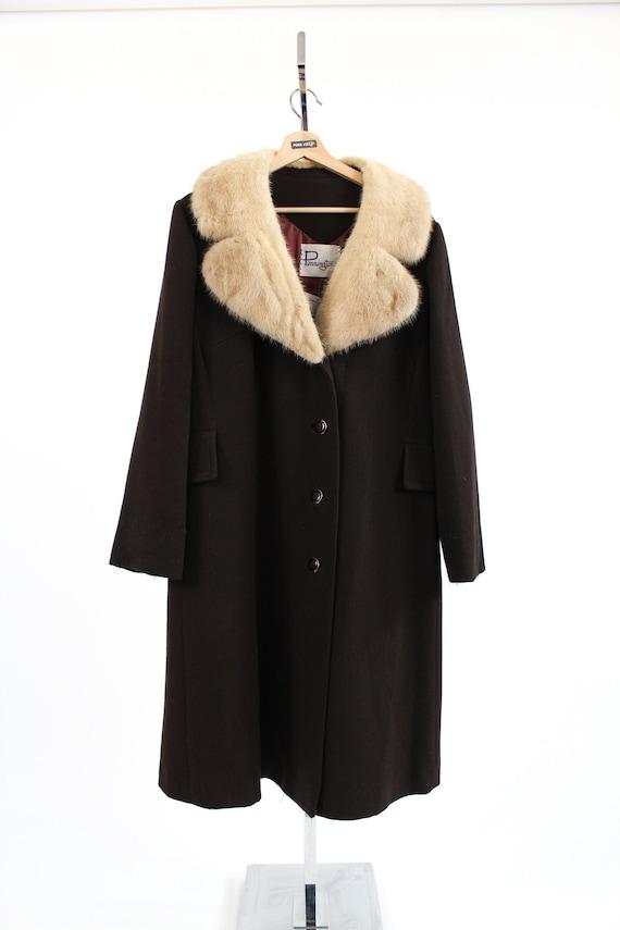 VNTG 1960 Pennington's Trench Coat Fur collar // M
