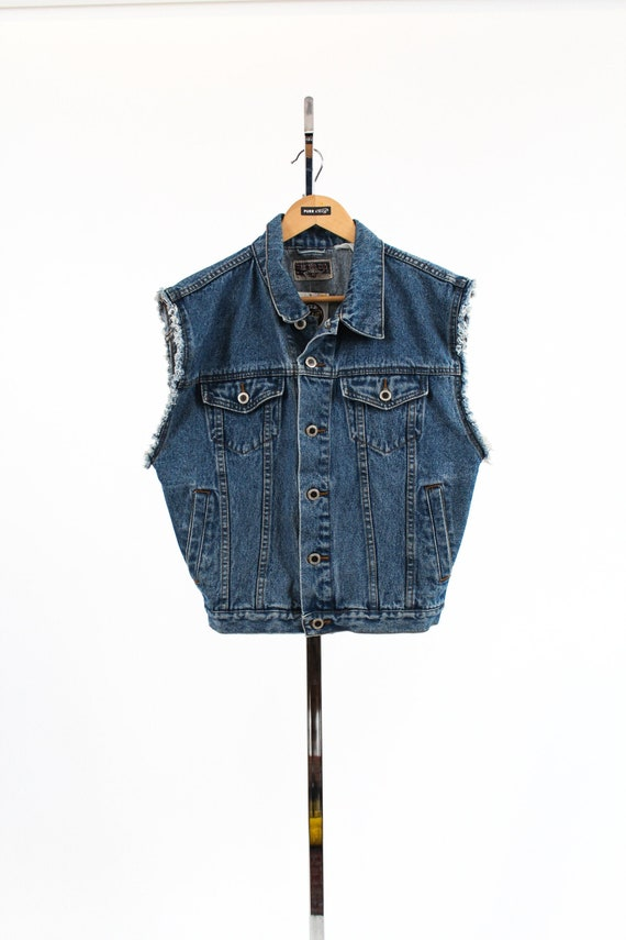 VNTG Fringe Denim Sleeveless Vest Nevada Jeans //